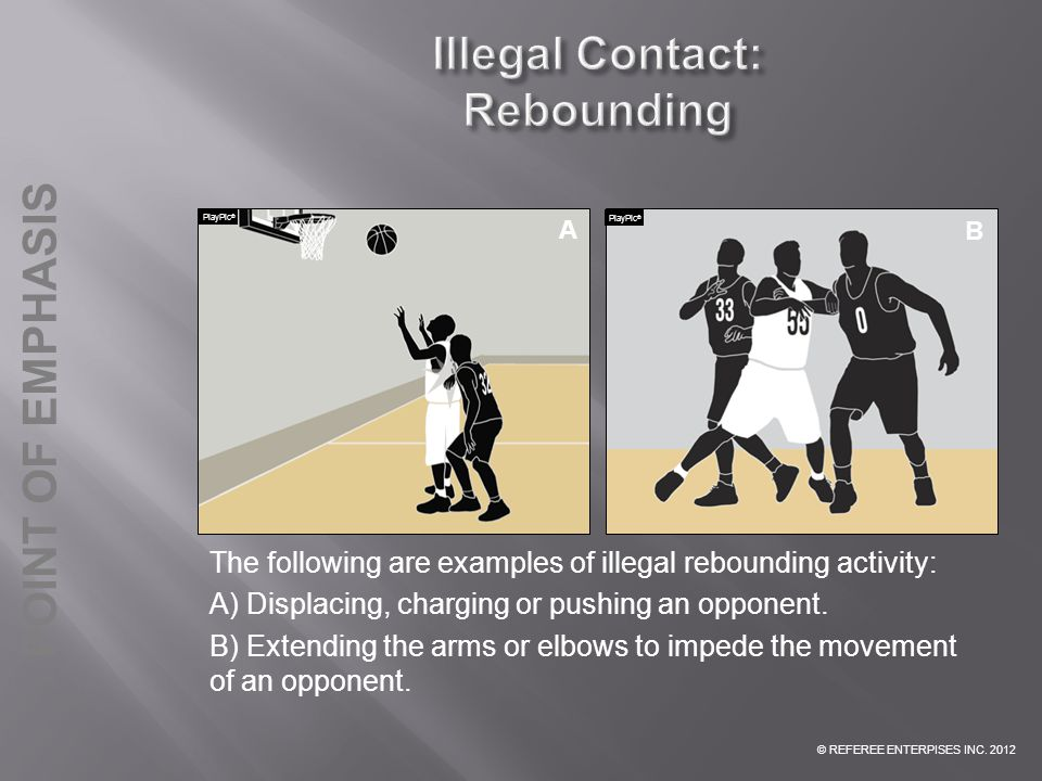 © REFEREE ENTERPISES INC. 2012 POINT OF EMPHASIS The following are examples of illegal rebounding activity: A) Displacing, charging or pushing an oppo