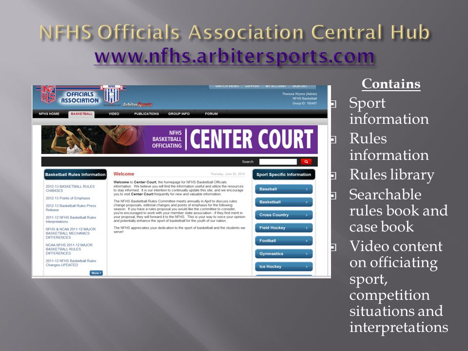 Contains Sport information Rules information Rules library Searchable rules book and case book Video content on officiating sport, competition situati