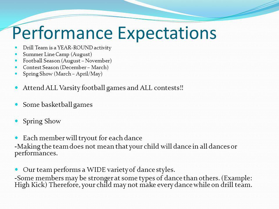 Expectations Daily attendance is essential for any precision performance by a drill team Absences from any dance/drill team activity are unexcused exc
