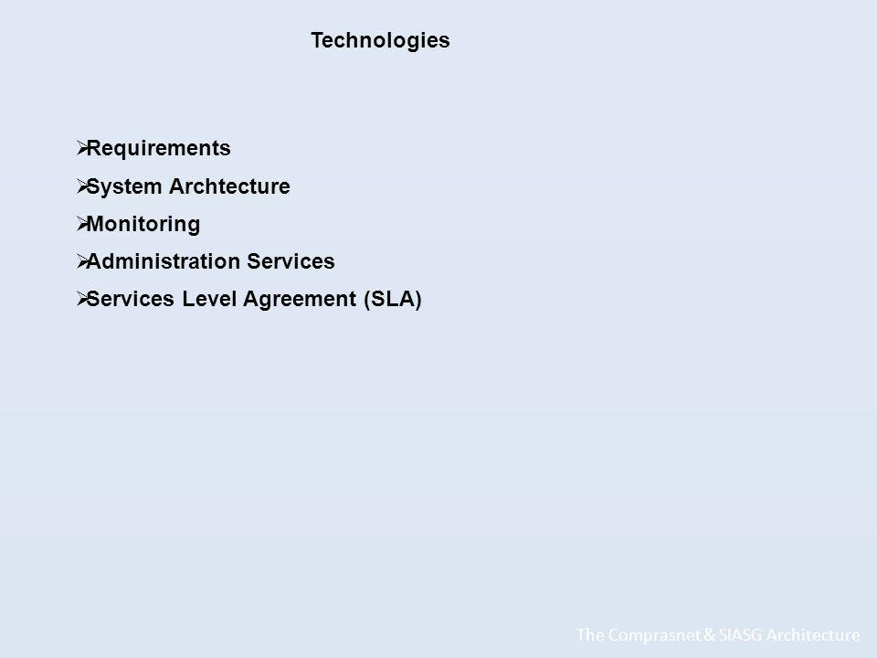 The Comprasnet & SIASG Architecture Technologies Requirements System Archtecture Monitoring Administration Services Services Level Agreement (SLA)