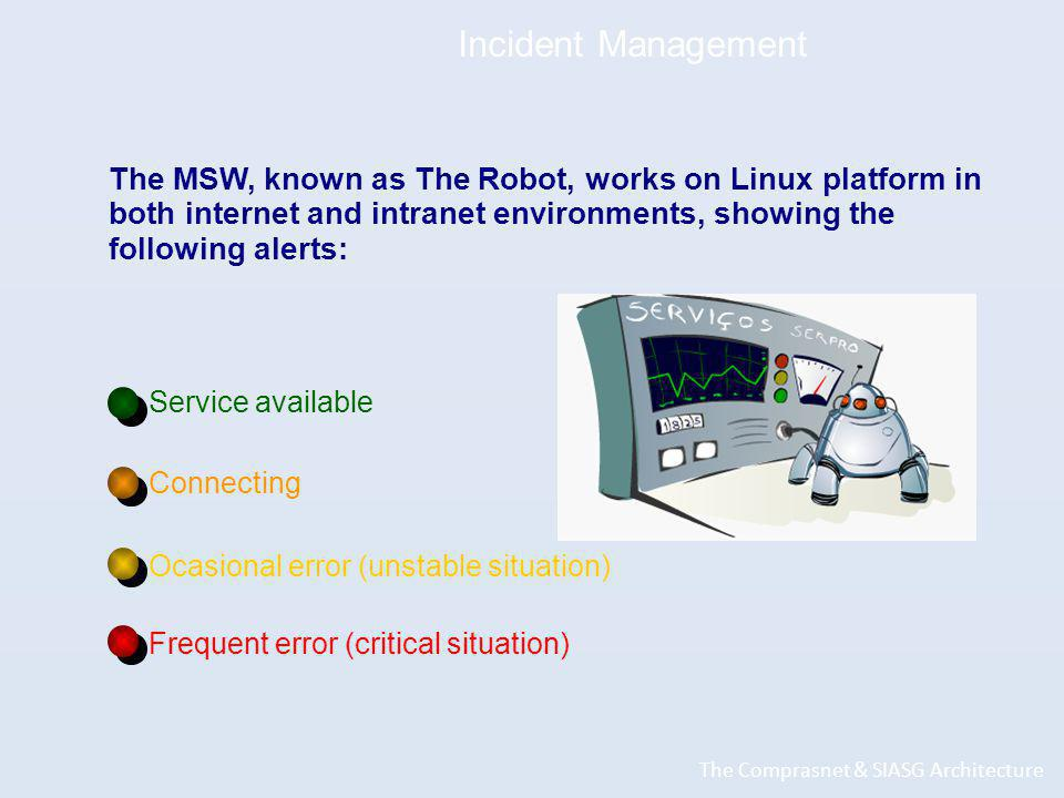 Incident Management The Comprasnet & SIASG Architecture The MSW, known as The Robot, works on Linux platform in both internet and intranet environments, showing the following alerts: Service available Connecting Ocasional error (unstable situation) Frequent error (critical situation)