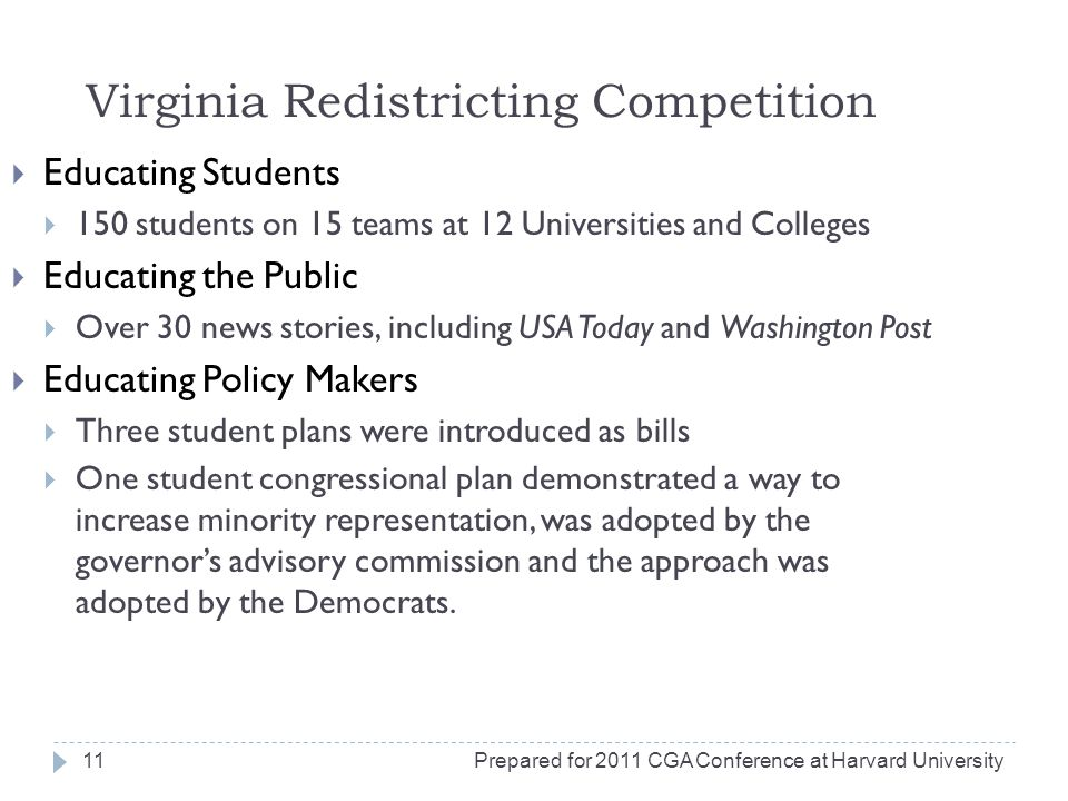 Virginia Redistricting Competition Educating Students 150 students on 15 teams at 12 Universities and Colleges Educating the Public Over 30 news stories, including USA Today and Washington Post Educating Policy Makers Three student plans were introduced as bills One student congressional plan demonstrated a way to increase minority representation, was adopted by the governors advisory commission and the approach was adopted by the Democrats.