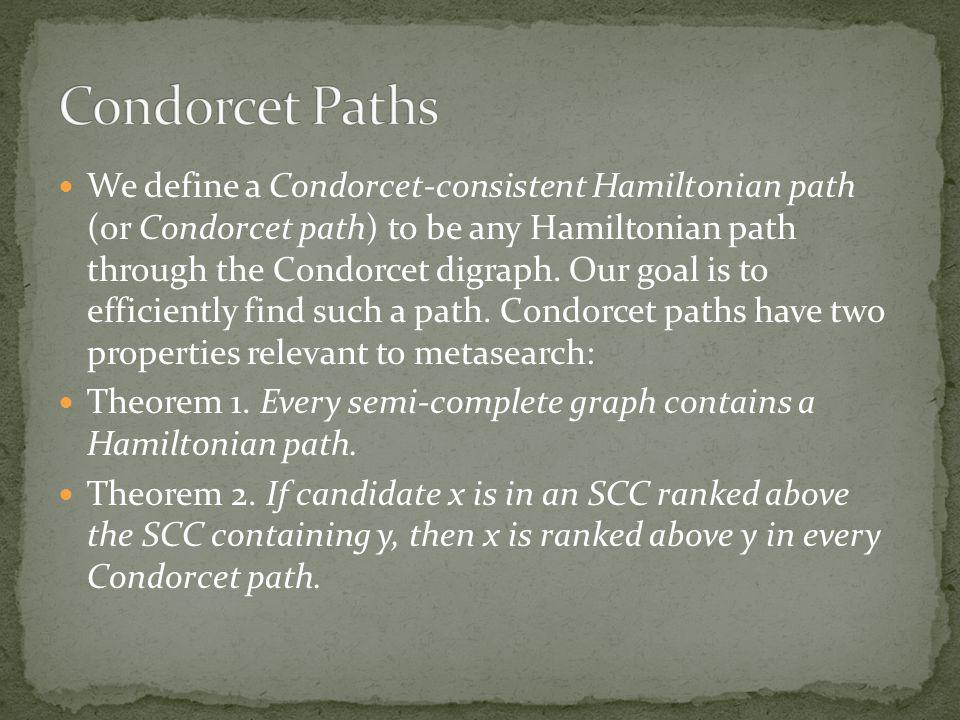 We define a Condorcet-consistent Hamiltonian path (or Condorcet path) to be any Hamiltonian path through the Condorcet digraph.
