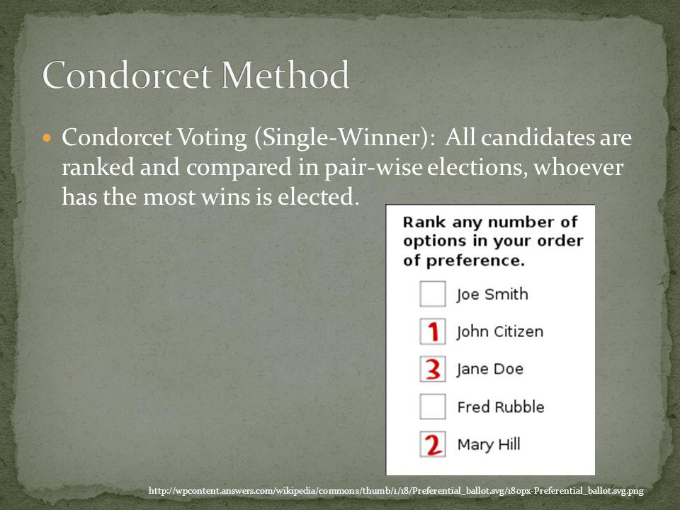 Condorcet Voting (Single-Winner): All candidates are ranked and compared in pair-wise elections, whoever has the most wins is elected.