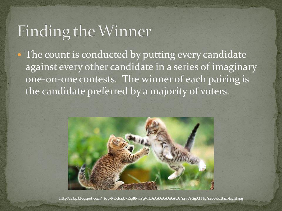 The count is conducted by putting every candidate against every other candidate in a series of imaginary one-on-one contests.