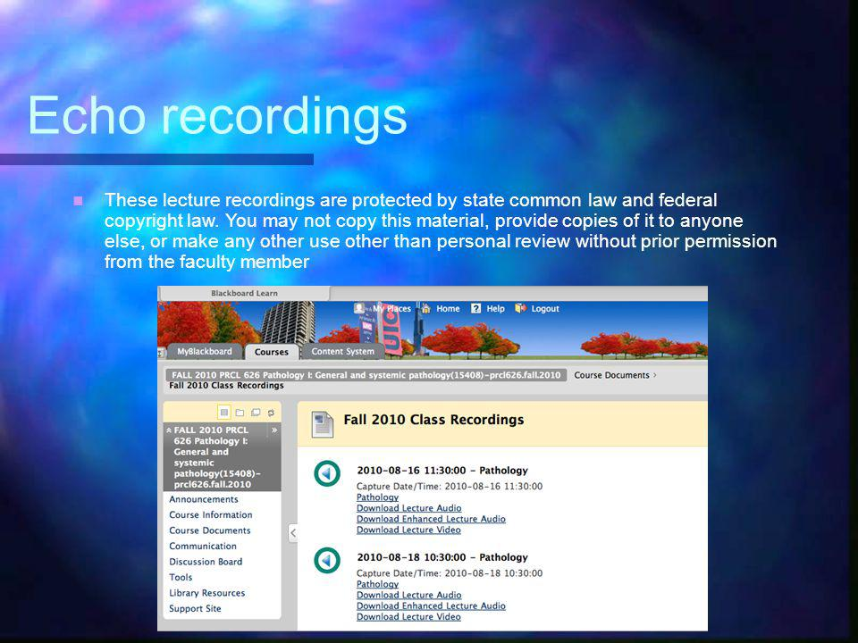 Echo recordings Supplement not replacement Supplement not replacement Primarily for review Primarily for review You can subscribe to these You can subscribe to these Faculty can opt out Faculty can opt out Patient videos Patient videos Pre-publication research Pre-publication research