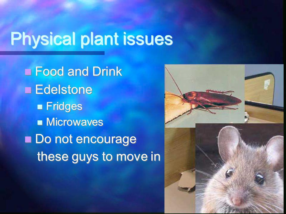Physical plant issues Food and Drink Food and Drink Edelstone Edelstone Fridges Fridges Microwaves Microwaves