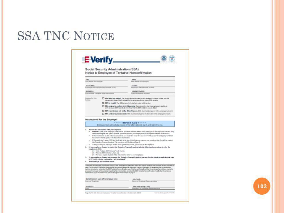 SSA TNC N OTICE 103
