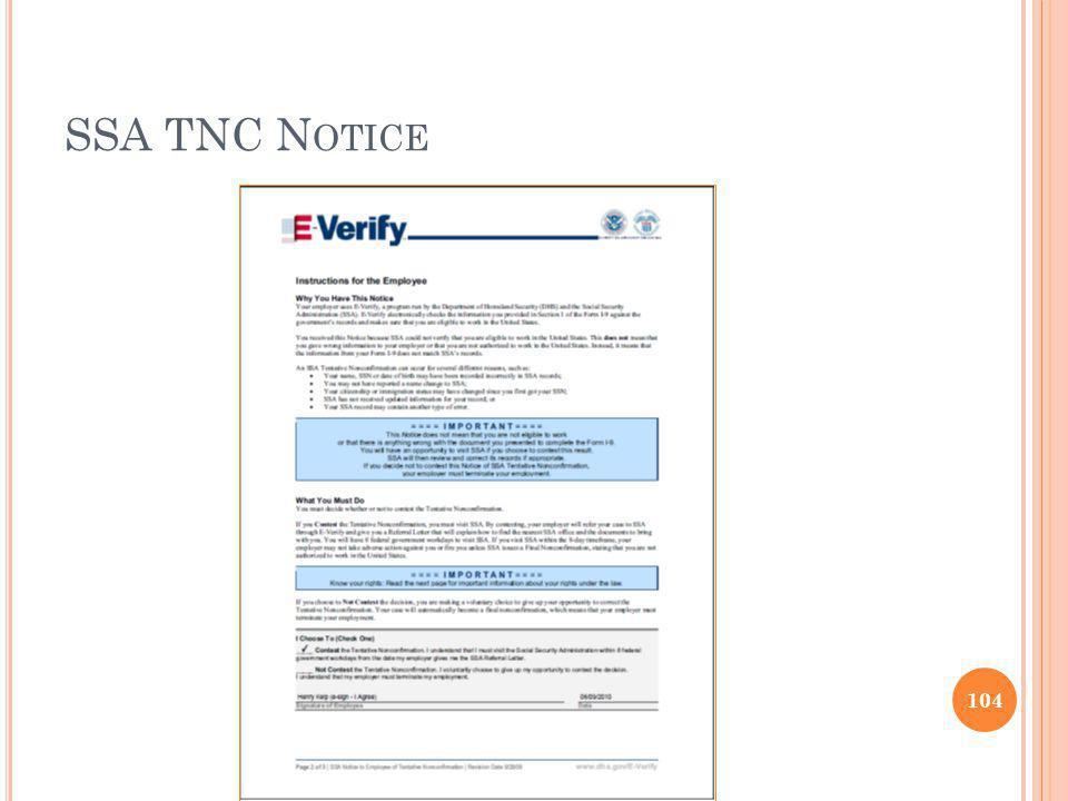 SSA TNC N OTICE 104