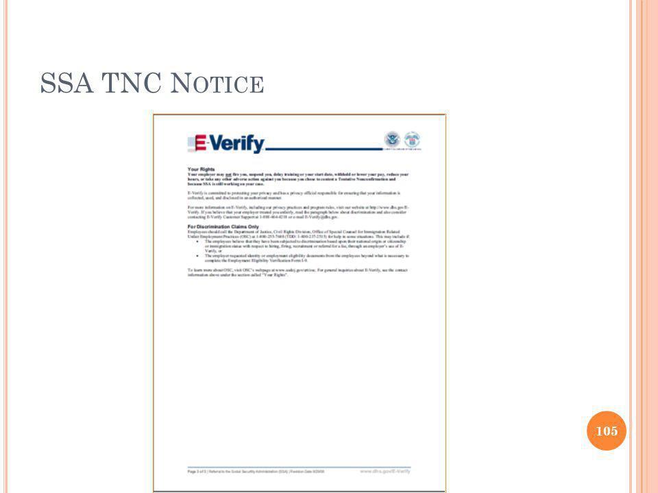 SSA TNC N OTICE 105