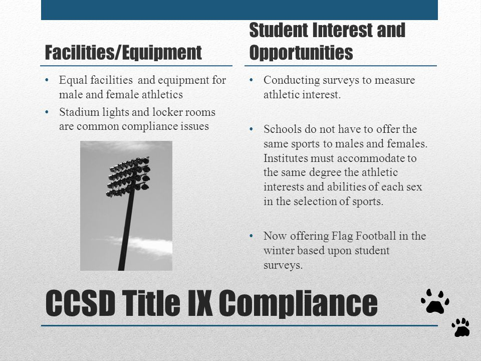 CCSD Title IX Compliance Facilities/Equipment Student Interest and Opportunities Conducting surveys to measure athletic interest. Schools do not have