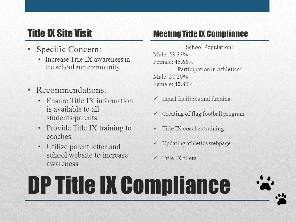 DP Title IX Compliance Title IX Site Visit Specific Concern: Increase Title IX awareness in the school and community Recommendations: Ensure Title IX