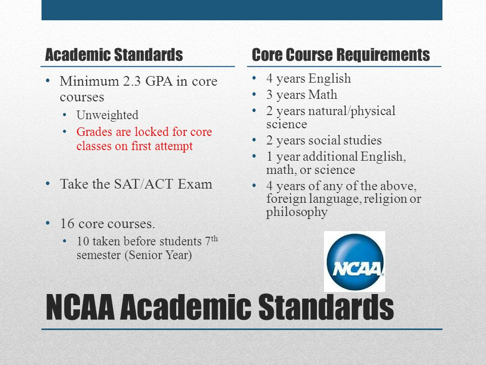 NCAA Academic Standards Academic Standards Minimum 2.3 GPA in core courses Unweighted Grades are locked for core classes on first attempt Take the SAT