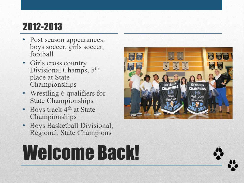 Welcome Back! 2012-2013 Post season appearances: boys soccer, girls soccer, football Girls cross country Divisional Champs, 5 th place at State Champi