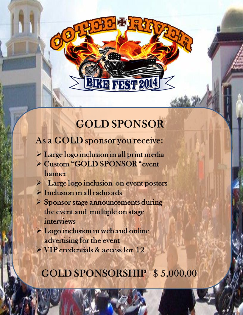 GOLD SPONSOR As a GOLD sponsor you receive: Large logo inclusion in all print media Custom GOLD SPONSOR event banner Large logo inclusion on event posters Inclusion in all radio ads Sponsor stage announcements during the event and multiple on stage interviews Logo inclusion in web and online advertising for the event VIP credentials & access for 12 GOLD SPONSORSHIP $ 5,000.00