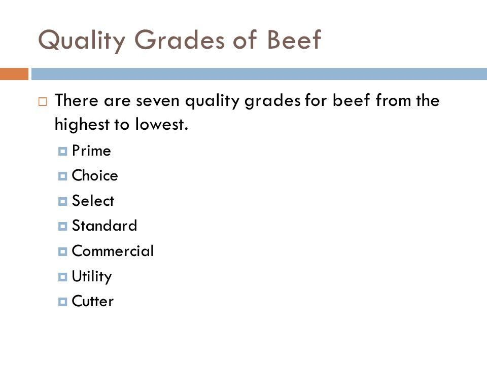 Lamb Quality Grades Lamb has five quality grades.