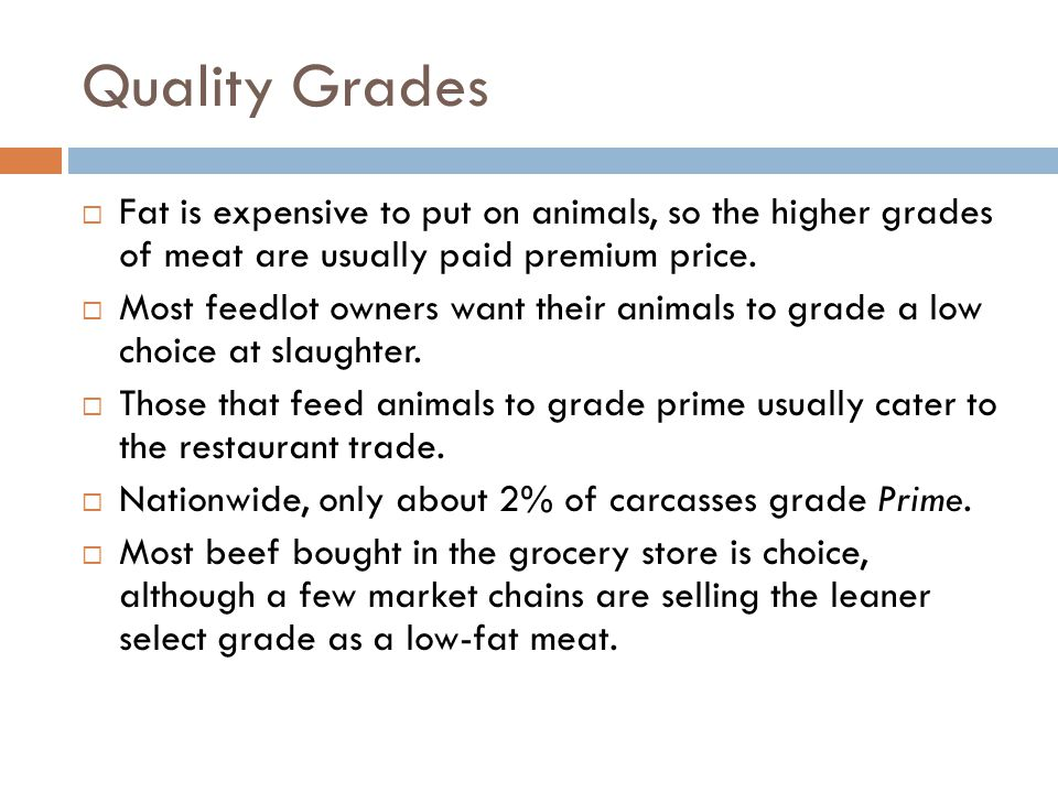 Slaughter Cattle Quality Grades The ideal grade for slaughter cattle is; Prime Choice Select Standard