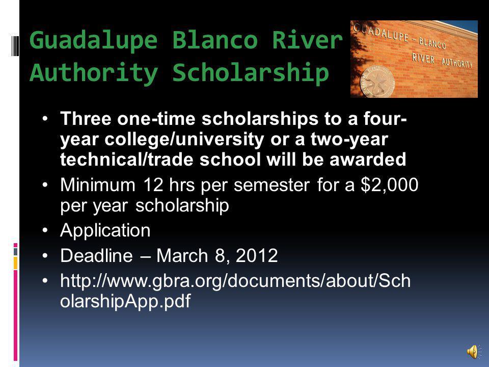Buck Fever Scholarship To be awarded in June 2012 1, $1,000 Scholarship Application Deadline – April 2012 (check website for form) http://www.buckfever.org/scholarship.html
