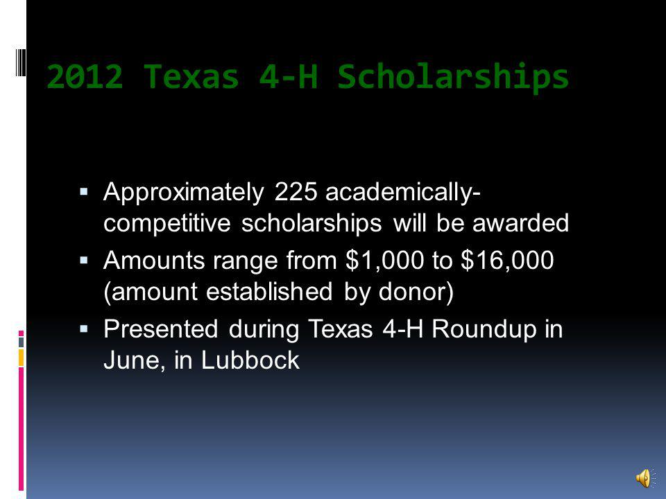 History More than 53 years old Largest 4-H scholarship program in US $2.2 million dollars will be given at the State Roundup Scholarship Assembly First scholarship ($1,000) given in 1959 by the Houston Livestock Show & Rodeo