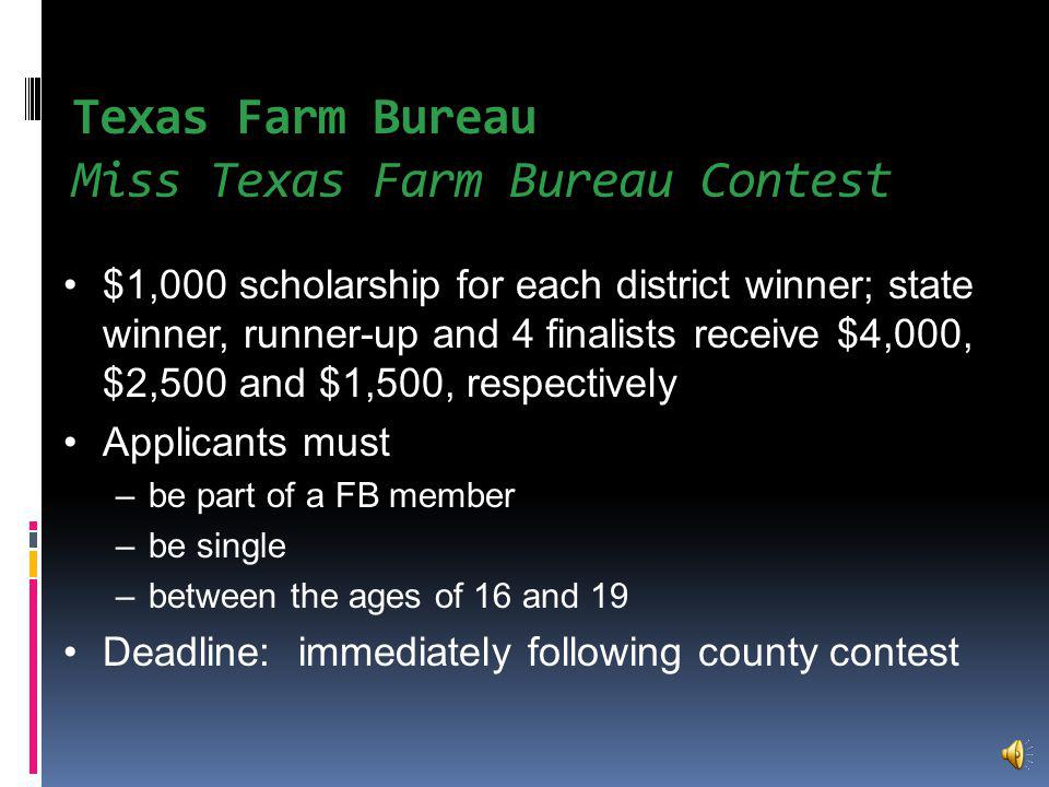 County Farm Bureau George Washington Farm Bureau Agricultural Scholarship 1 $500 scholarship Eligibility Rank in the upper 50% of class Demonstrate leadership, citizenship & good character Be part of a FB family Application Deadline: April 1