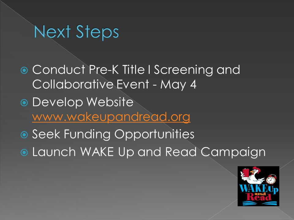 Conduct Pre-K Title I Screening and Collaborative Event - May 4 Develop Website     Seek Funding Opportunities Launch WAKE Up and Read Campaign