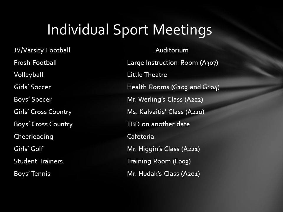 Individual Sport Meetings JV/Varsity FootballAuditorium Frosh FootballLarge Instruction Room (A307) VolleyballLittle Theatre Girls SoccerHealth Rooms (G103 and G104) Boys SoccerMr.