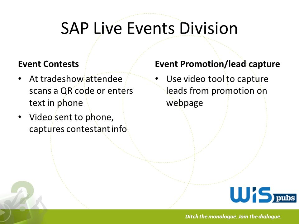 a Ditch the monologue. Join the dialogue. SAP Live Events Division Event Contests At tradeshow attendee scans a QR code or enters text in phone Video