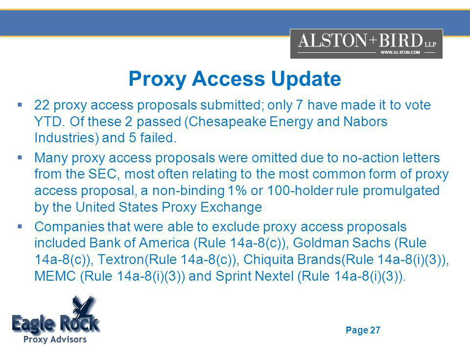 WWW.ALSTON.COM Page 27 Proxy Access Update 22 proxy access proposals submitted; only 7 have made it to vote YTD.
