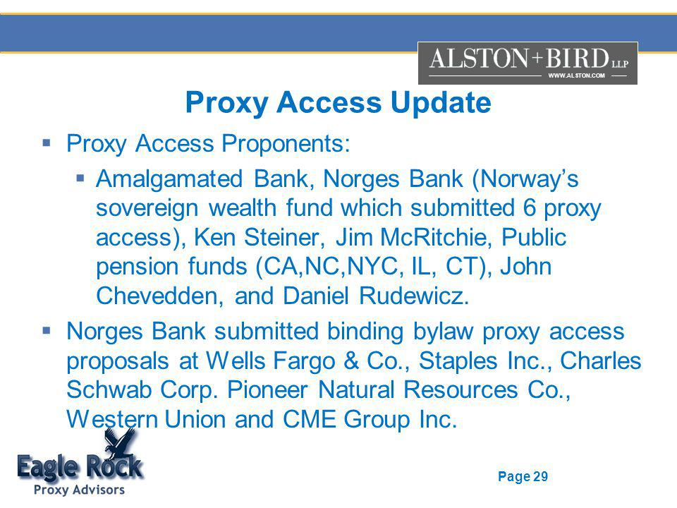 WWW.ALSTON.COM Page 29 Proxy Access Update Proxy Access Proponents: Amalgamated Bank, Norges Bank (Norways sovereign wealth fund which submitted 6 pro