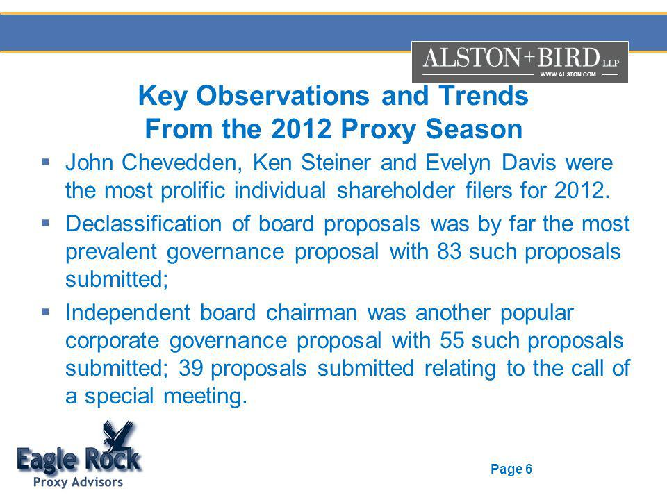 WWW.ALSTON.COM Page 6 Key Observations and Trends From the 2012 Proxy Season John Chevedden, Ken Steiner and Evelyn Davis were the most prolific indiv