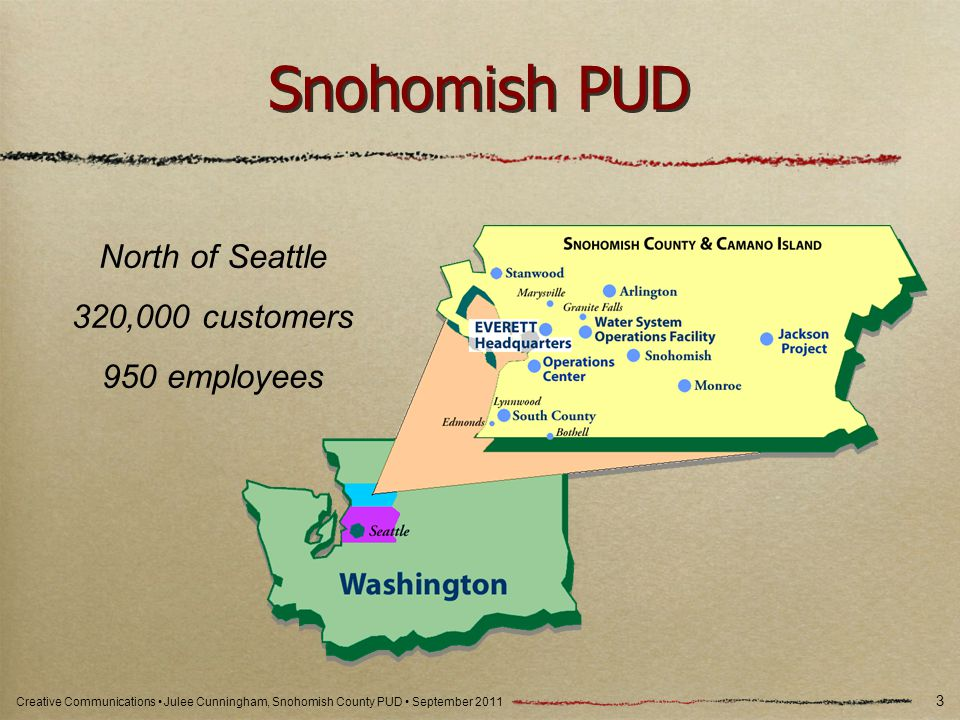 Creative Communications Julee Cunningham, Snohomish County PUD September 2011 Snohomish PUD 3 North of Seattle 320,000 customers 950 employees
