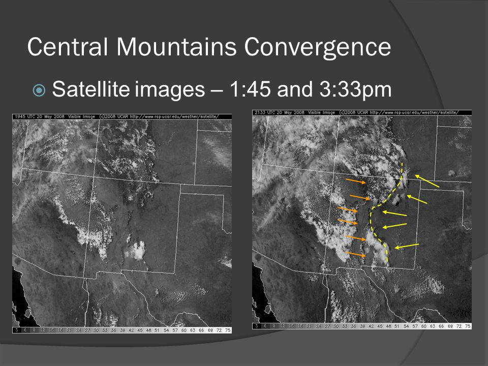 Central Mountains Convergence Satellite images – 1:45 and 3:33pm
