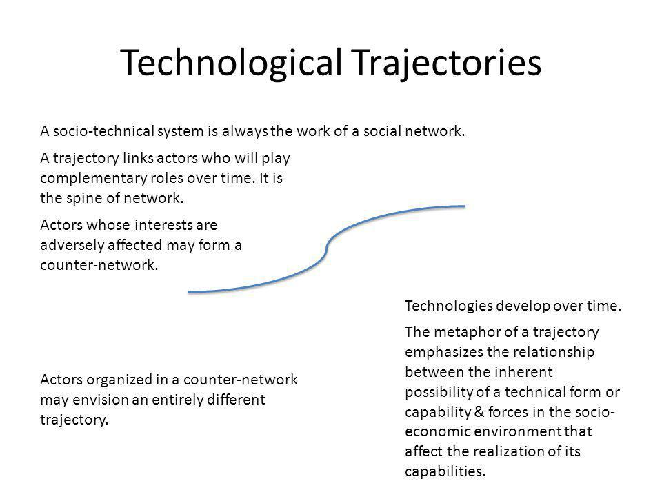 Technological Trajectories Technologies develop over time.