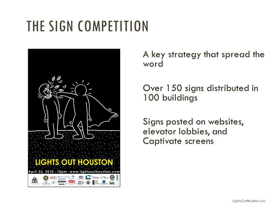 THE SIGN COMPETITION A key strategy that spread the word Over 150 signs distributed in 100 buildings Signs posted on websites, elevator lobbies, and Captivate screens LightsOutHouston.com