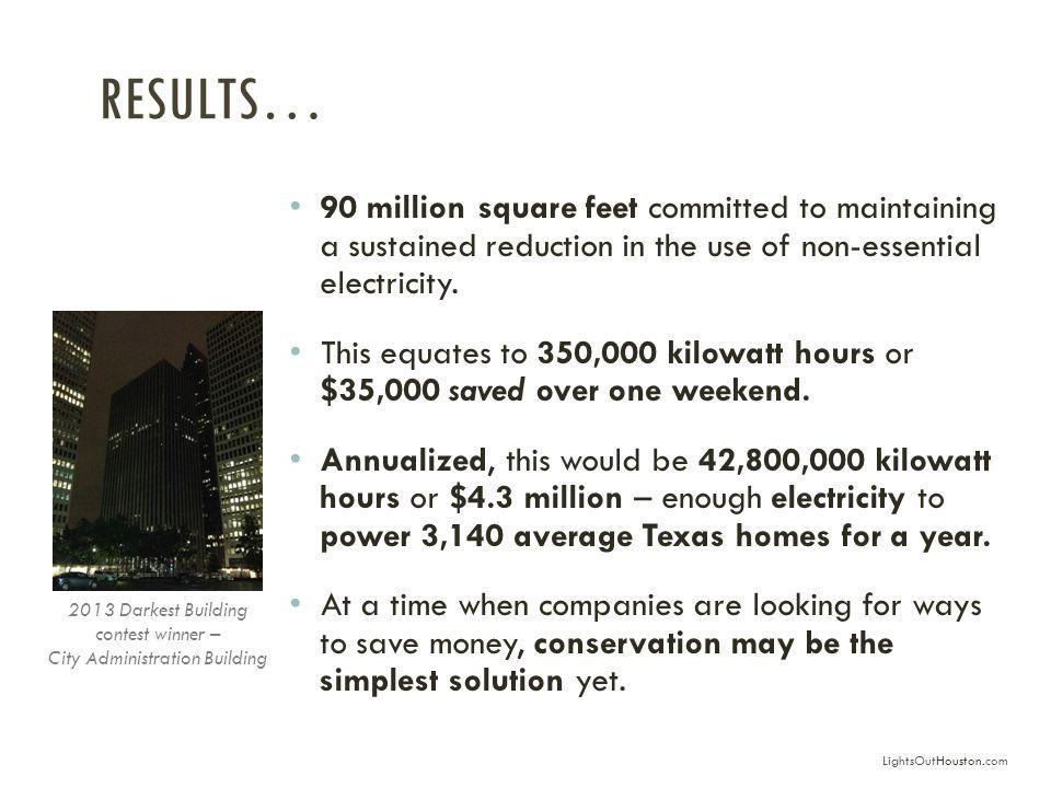 RESULTS… 90 million square feet committed to maintaining a sustained reduction in the use of non-essential electricity.