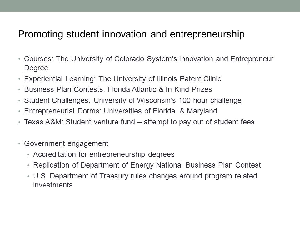 Promoting student innovation and entrepreneurship Courses: The University of Colorado Systems Innovation and Entrepreneur Degree Experiential Learning