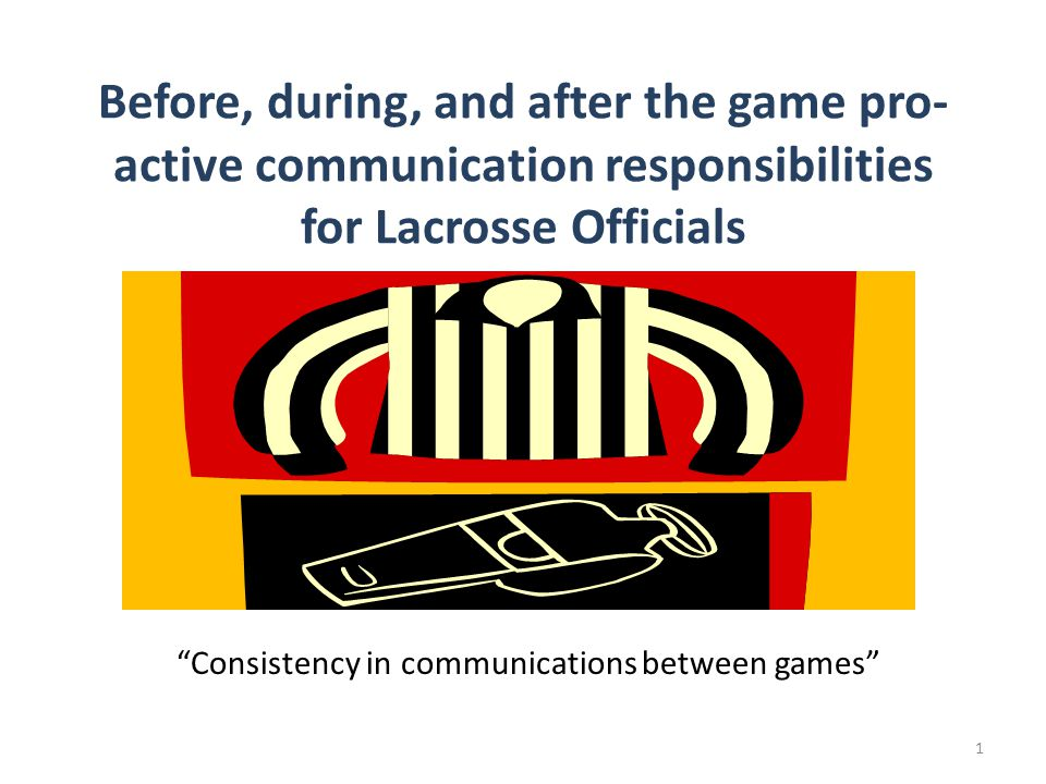 Before the game… Contact each member of your Officiating Team prior to arriving at the field.