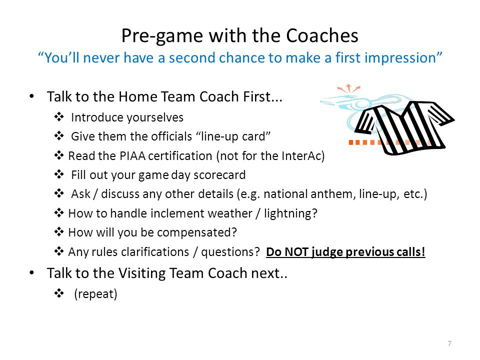 Quiz Question #3 Which topics do you discuss with each coach in your pre-game with them.