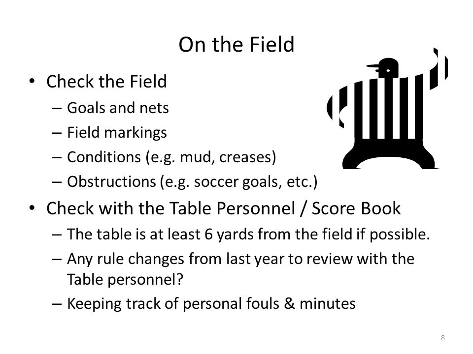 On the Field with the Players Call for Stick Checks (far mid-field) Call Captains for the Coin Toss (5 min before game time) – Introduce yourselves to the Captains.