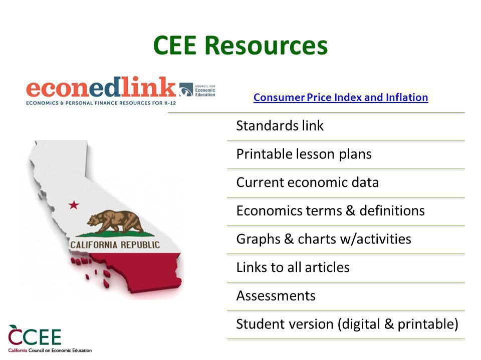 CEE Resources Standards link Printable lesson plans Current economic data Economics terms & definitions Graphs & charts w/activities Links to all articles Assessments Student version (digital & printable) Consumer Price Index and Inflation