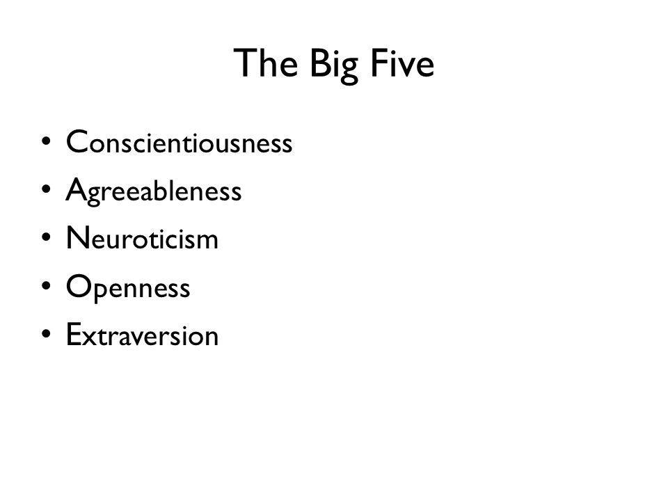 The Big Five C onscientiousness A greeableness N euroticism O penness E xtraversion