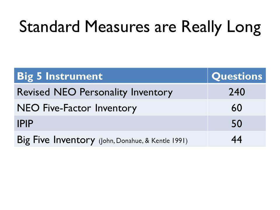 Standard Measures are Really Long Big 5 InstrumentQuestions Revised NEO Personality Inventory240 NEO Five-Factor Inventory60 IPIP50 Big Five Inventory (John, Donahue, & Kentle 1991) 44