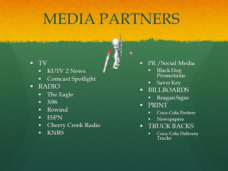 MEDIA PARTNERS TV TV KUTV 2 News KUTV 2 News Comcast Spotlight Comcast Spotlight RADIO RADIO The Eagle The Eagle X96 X96 Rewind Rewind ESPN ESPN Cherry Creek Radio Cherry Creek Radio KNRS KNRS PR /Social Media PR /Social Media Black Dog Promotions Black Dog Promotions Saver Key Saver Key BILLBOARDS BILLBOARDS Reagan Signs Reagan Signs PRINT PRINT Coca-Cola Posters Coca-Cola Posters Newspapers Newspapers TRUCK BACKS TRUCK BACKS Coca-Cola Delivery Trucks Coca-Cola Delivery Trucks