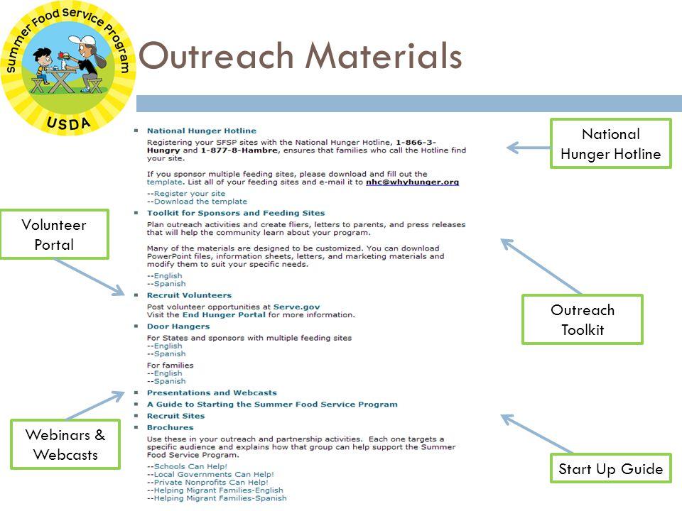 Outreach Materials Outreach Toolkit Start Up Guide Volunteer Portal Webinars & Webcasts National Hunger Hotline