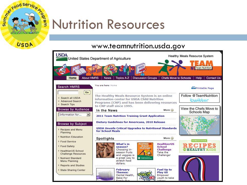 Nutrition Resources www.teamnutrition.usda.gov
