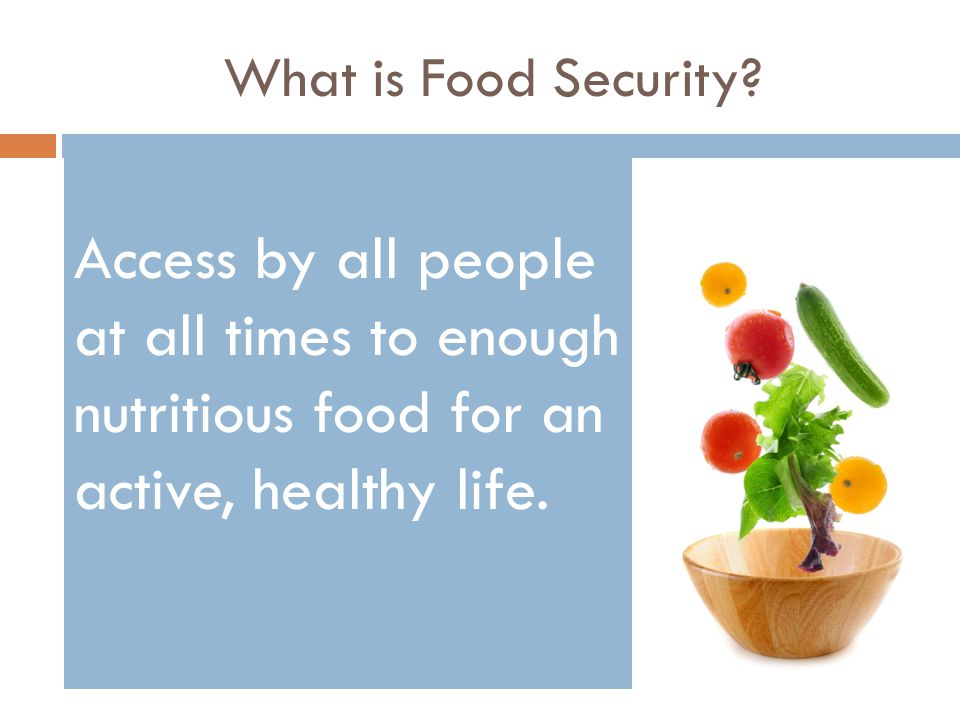 What is Food Security? Access by all people at all times to enough nutritious food for an active, healthy life.