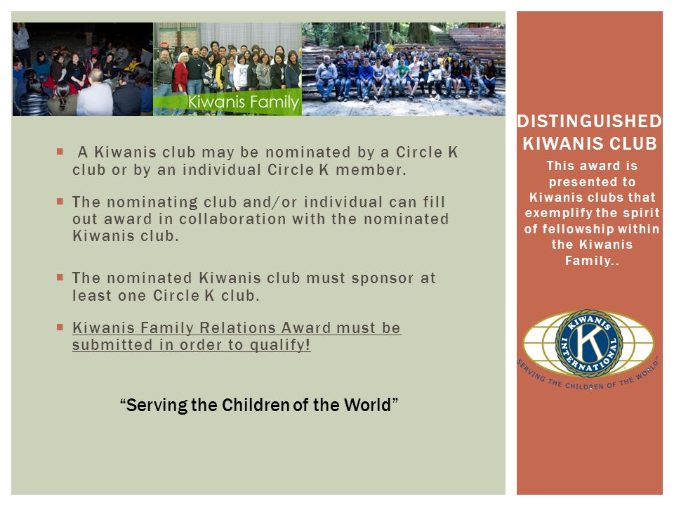 A Kiwanis club may be nominated by a Circle K club or by an individual Circle K member.