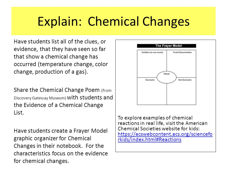 Explain: Chemical Changes Have students list all of the clues, or evidence, that they have seen so far that show a chemical change has occurred (tempe
