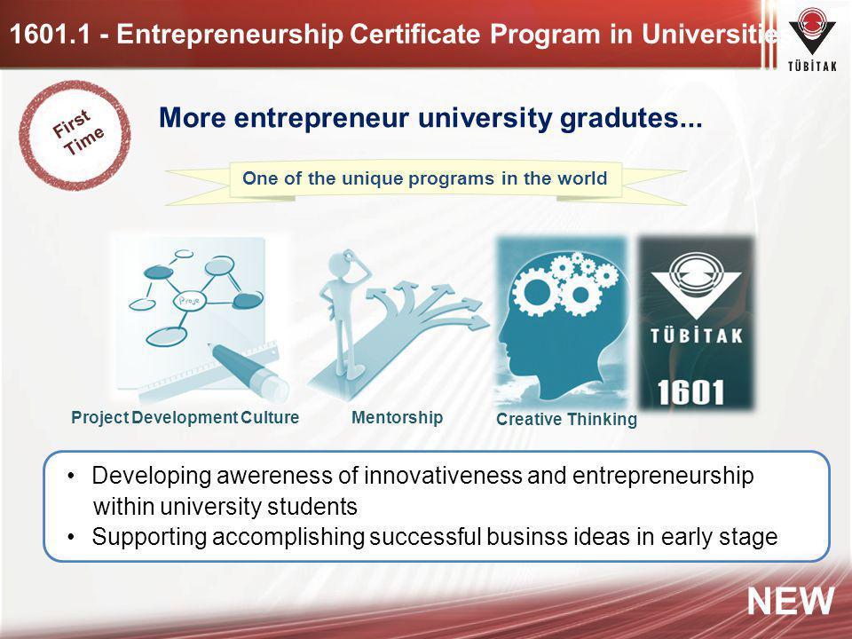 1601.1 - Entrepreneurship Certificate Program in Universities More entrepreneur university gradutes... Developing awereness of innovativeness and entr