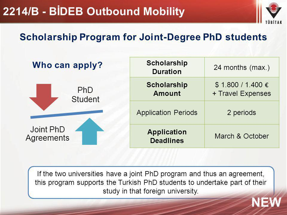 PhD Student Joint PhD Agreements Scholarship Duration 24 months (max.) Scholarship Amount $ 1.800 / 1.400 + Travel Expenses Application Periods2 perio